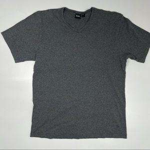 Hugo Boss Gray V-Neck Cotton T-Shirt Men's L